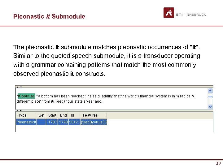 Pleonastic It Submodule The pleonastic it submodule matches pleonastic occurrences of
