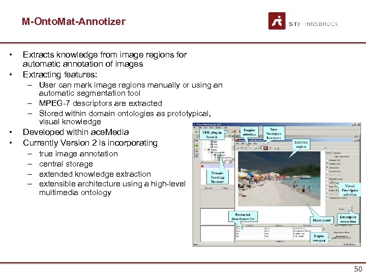 M-Onto. Mat-Annotizer • • Extracts knowledge from image regions for automatic annotation of images