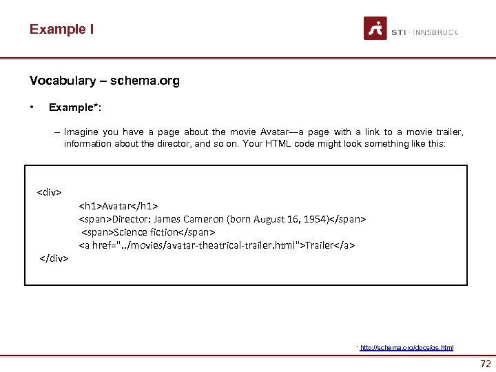 Example I Vocabulary – schema. org • Example*: – Imagine you have a page