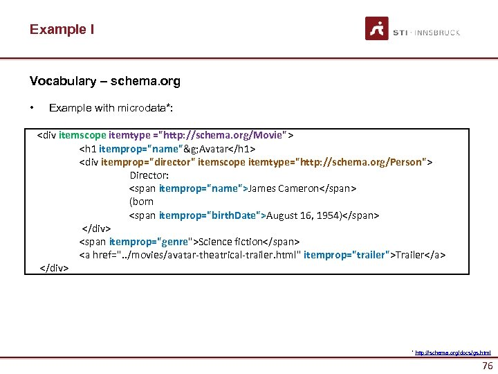 Example I Vocabulary – schema. org • Example with microdata*: <div itemscope itemtype =