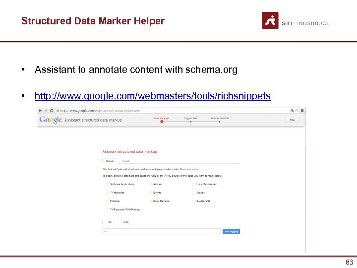 Structured Data Marker Helper • Assistant to annotate content with schema. org • http: