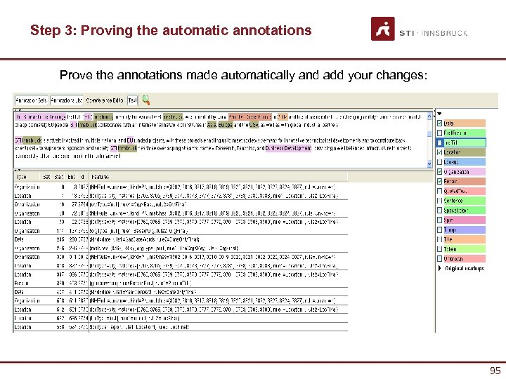 Step 3: Proving the automatic annotations Prove the annotations made automatically and add your