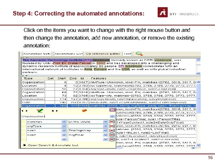 Step 4: Correcting the automated annotations: Click on the items you want to change