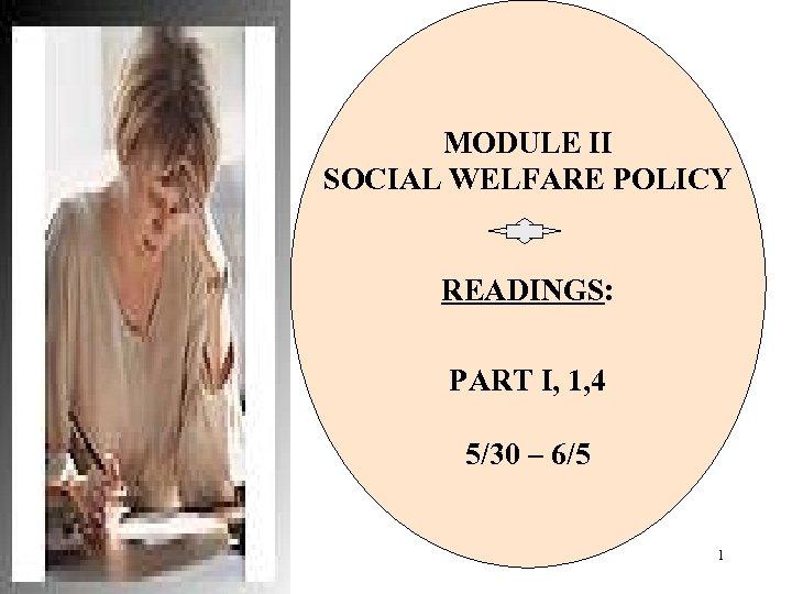 MODULE II SOCIAL WELFARE POLICY READINGS: PART I, 1, 4 5/30 – 6/5 1