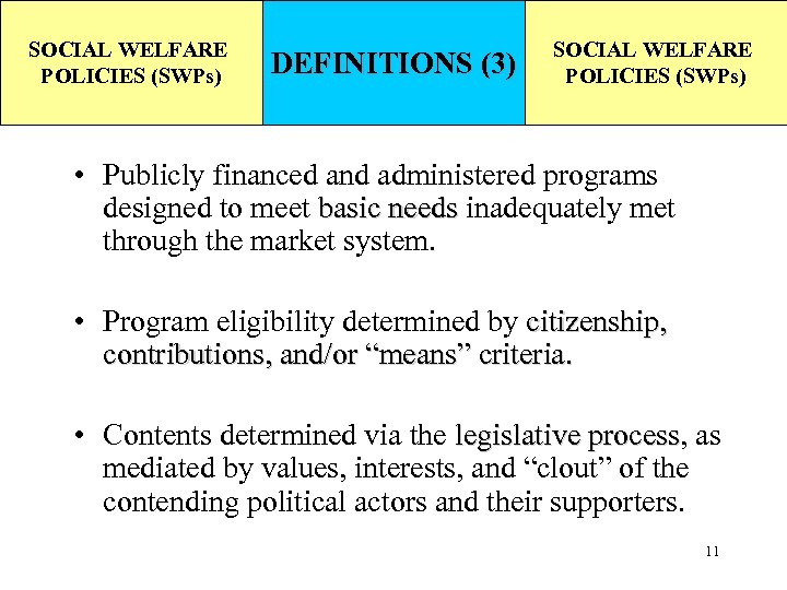 SOCIAL WELFARE POLICIES (SWPs) DEFINITIONS (3) SOCIAL WELFARE POLICIES (SWPs) • Publicly financed and