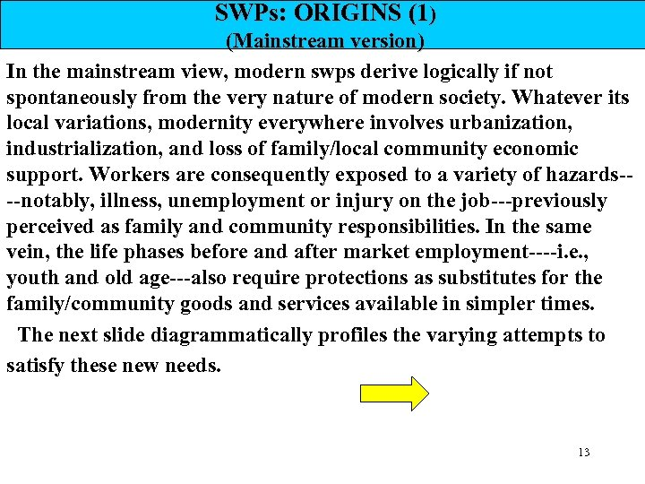 SWPs: ORIGINS (1) (Mainstream version) In the mainstream view, modern swps derive logically if
