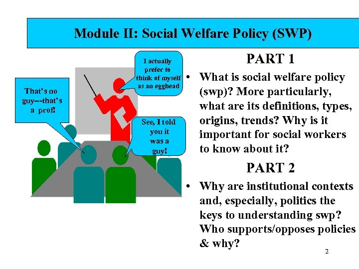 Module II: Social Welfare Policy (SWP) That's no guy---that's a prof! I actually prefer