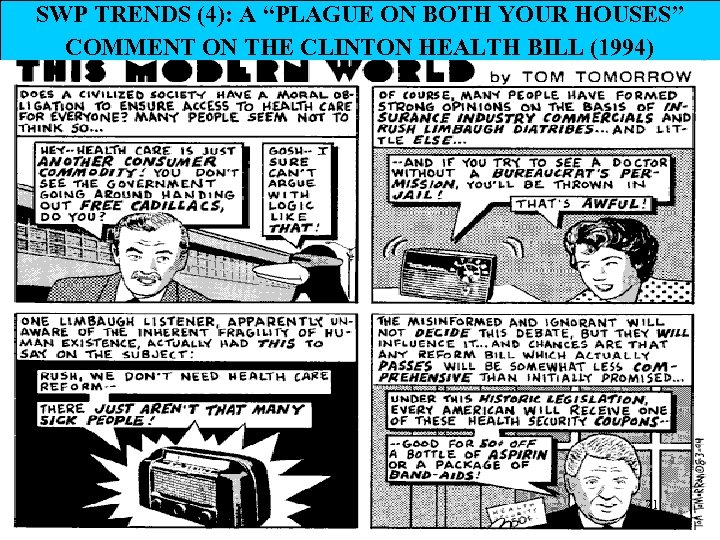 """SWP TRENDS (4): A """"PLAGUE ON BOTH YOUR HOUSES"""" COMMENT ON THE CLINTON HEALTH"""