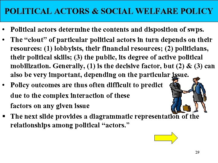 POLITICAL ACTORS & SOCIAL WELFARE POLICY • Political actors determine the contents and disposition