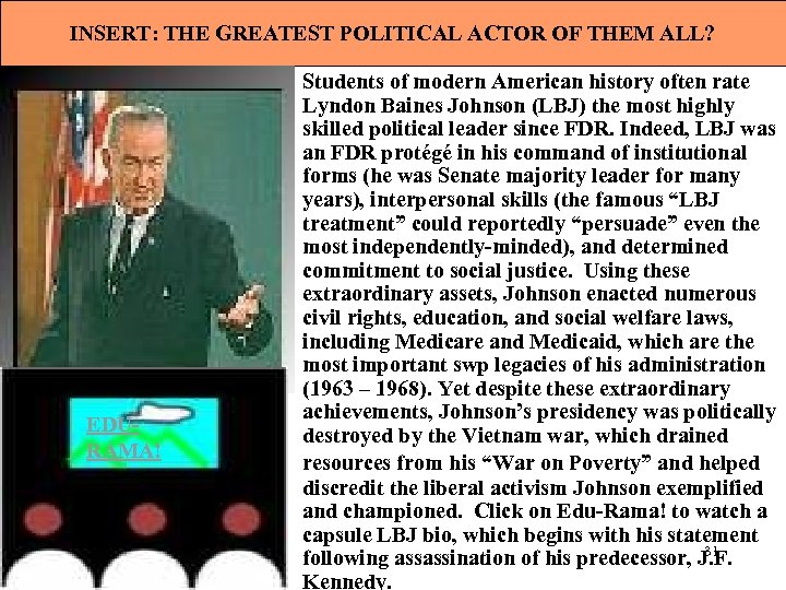 INSERT: THE GREATEST POLITICAL ACTOR OF THEM ALL? EDURAMA! Students of modern American history