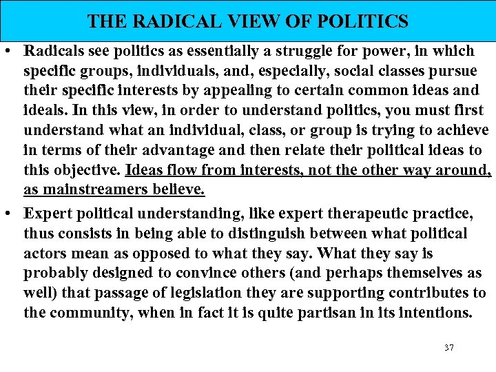 THE RADICAL VIEW OF POLITICS • Radicals see politics as essentially a struggle for