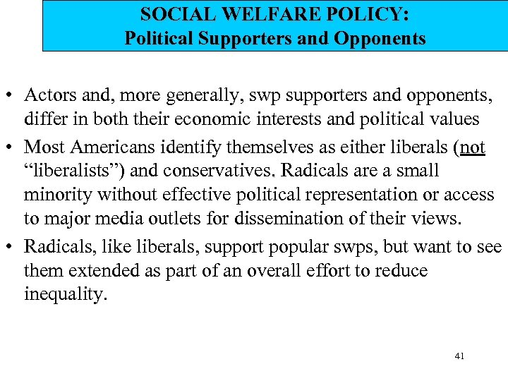 SOCIAL WELFARE POLICY: Political Supporters and Opponents • Actors and, more generally, swp supporters