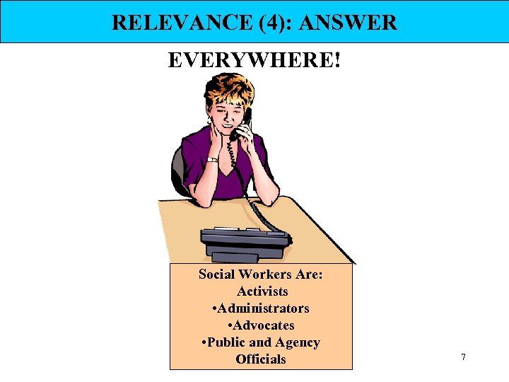 RELEVANCE (4): ANSWER EVERYWHERE! Social Workers Are: Activists • Administrators • Advocates • Public