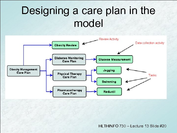 Designing a care plan in the model HLTHINFO 730 – Lecture 13 Slide #20