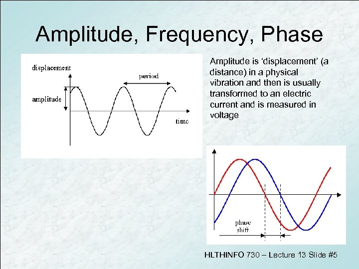 Amplitude, Frequency, Phase Amplitude is 'displacement' (a distance) in a physical vibration and then