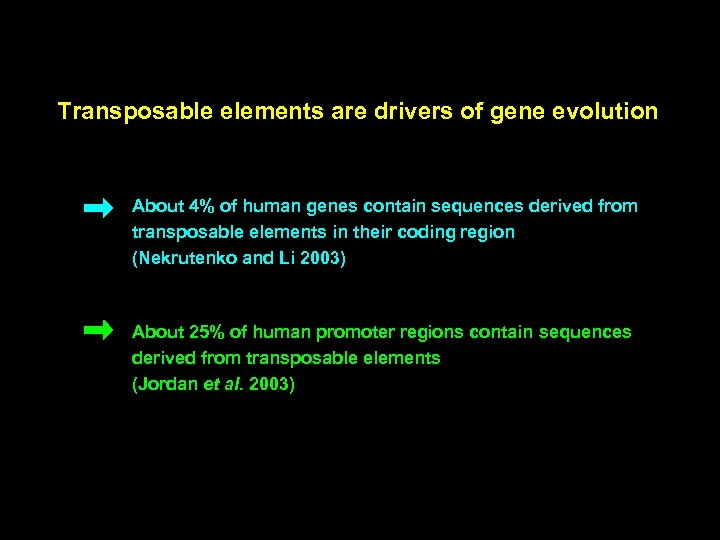 Transposable elements are drivers of gene evolution About 4% of human genes contain sequences