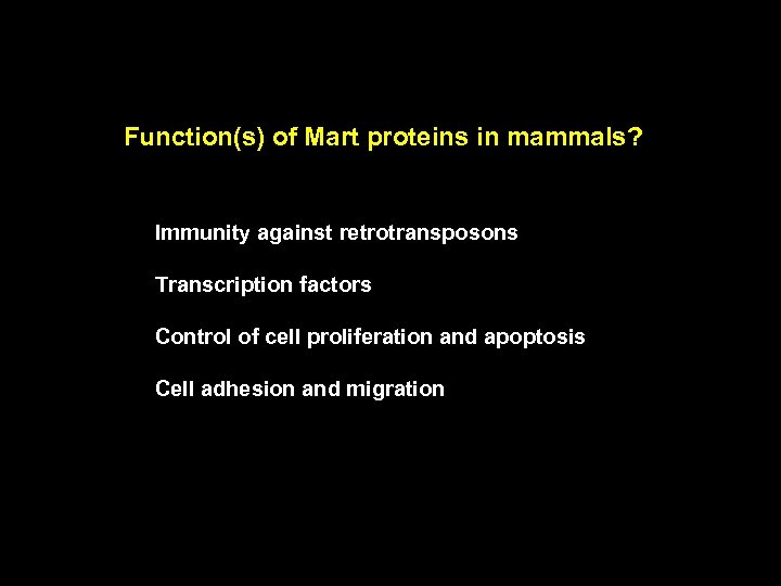 Function(s) of Mart proteins in mammals? Immunity against retrotransposons Transcription factors Control of cell