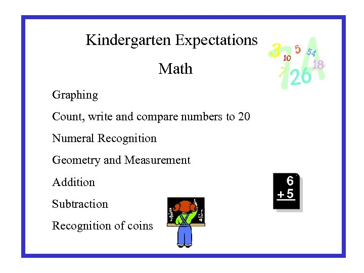 Kindergarten Expectations Math Graphing Count, write and compare numbers to 20 Numeral Recognition Geometry