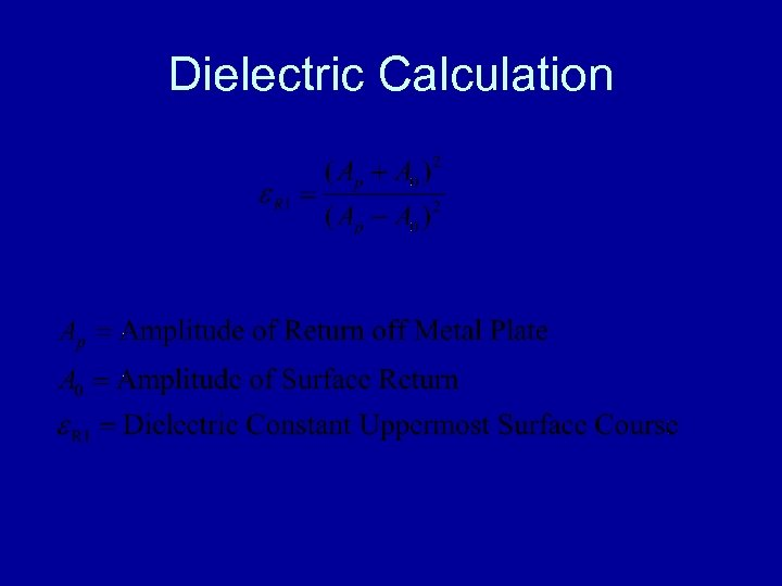 Dielectric Calculation