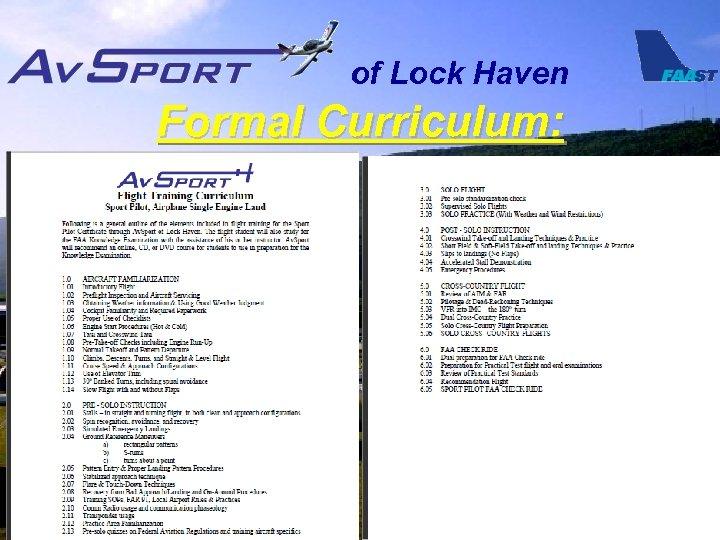 of Lock Haven Formal Curriculum: