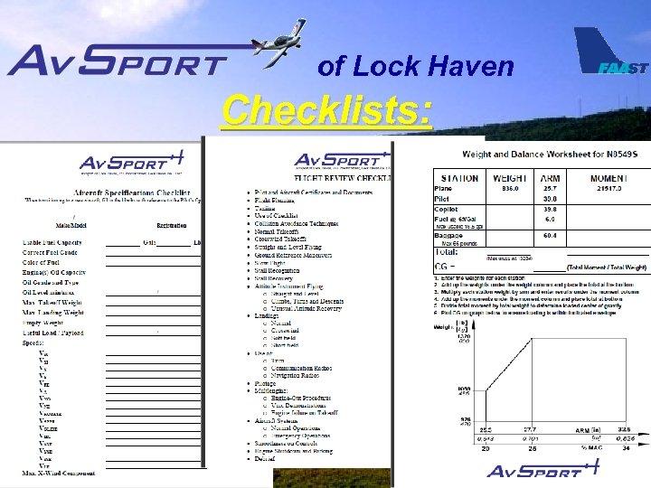 of Lock Haven Checklists: