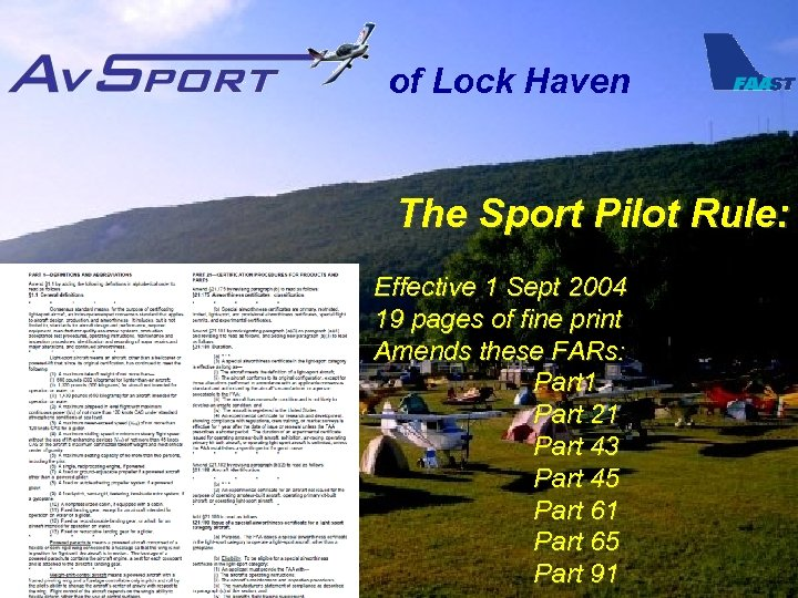 of Lock Haven The Sport Pilot Rule: Effective 1 Sept 2004 19 pages of