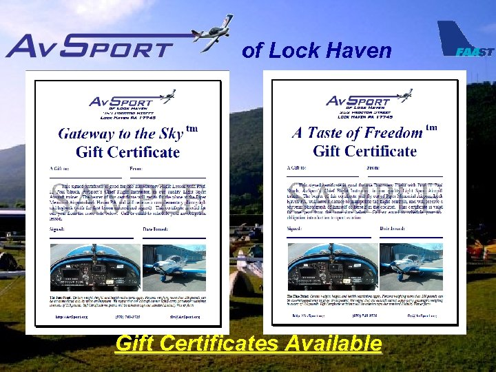 of Lock Haven Gift Certificates Available