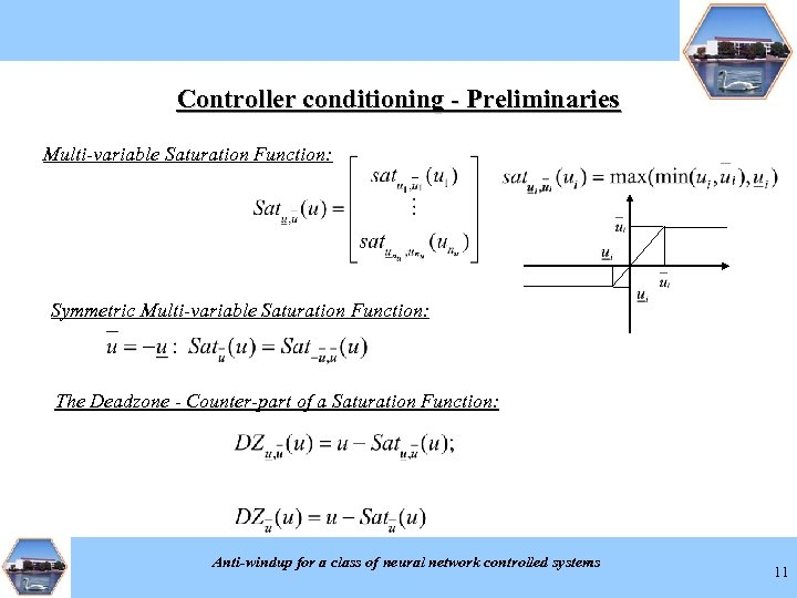 Controller conditioning - Preliminaries Multi-variable Saturation Function: Symmetric Multi-variable Saturation Function: The Deadzone -