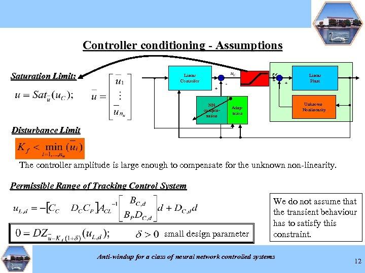 Controller conditioning - Assumptions Saturation Limit: Linear Controller + NN compensation + - +
