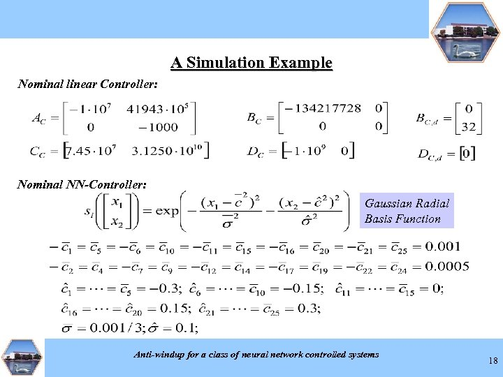 A Simulation Example Nominal linear Controller: Nominal NN-Controller: Gaussian Radial Basis Function Anti-windup for