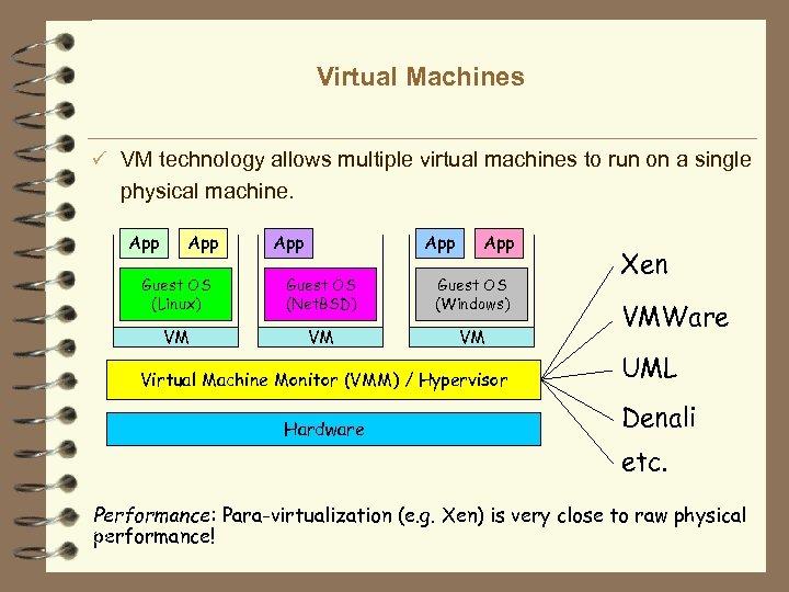 Virtual Machines ü VM technology allows multiple virtual machines to run on a single