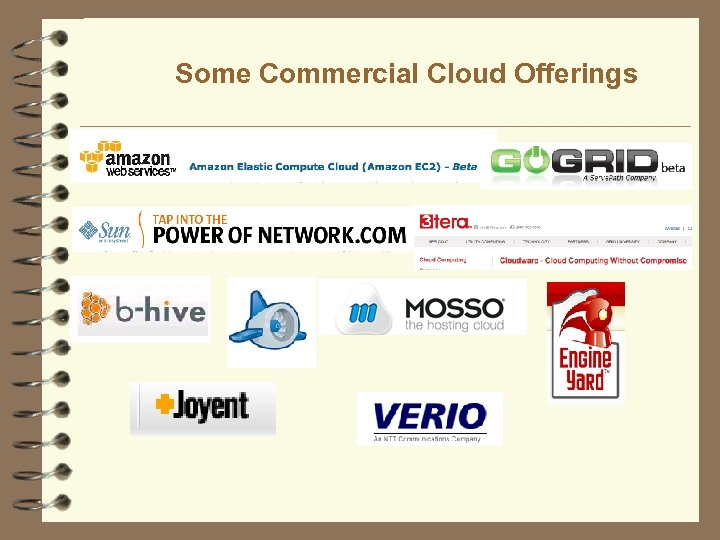 Some Commercial Cloud Offerings 38