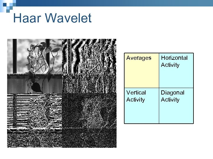 Haar Wavelet Averages Horizontal Activity Vertical Activity Diagonal Activity