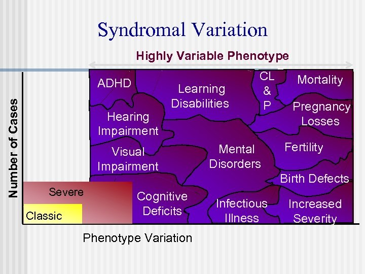 Syndromal Variation Highly Variable Phenotype Number of Cases ADHD Hearing Impairment Learning Disabilities Visual