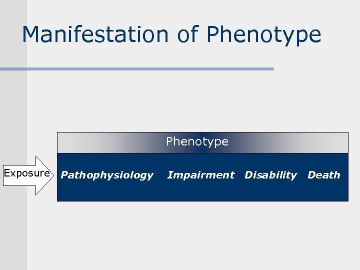 Manifestation of Phenotype Exposure Pathophysiology Impairment Disability Death