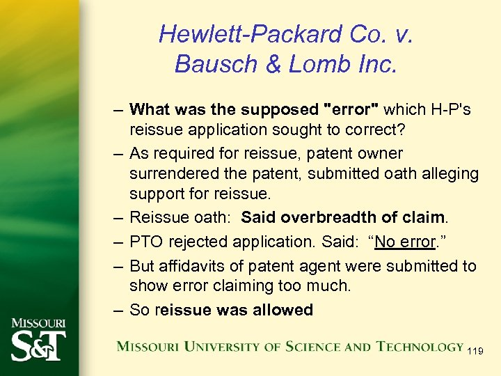 Hewlett-Packard Co. v. Bausch & Lomb Inc. – What was the supposed