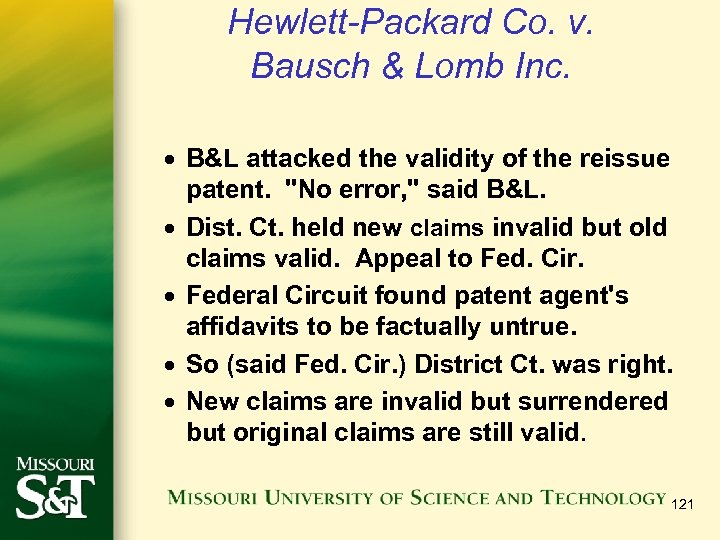 Hewlett-Packard Co. v. Bausch & Lomb Inc. · B&L attacked the validity of the