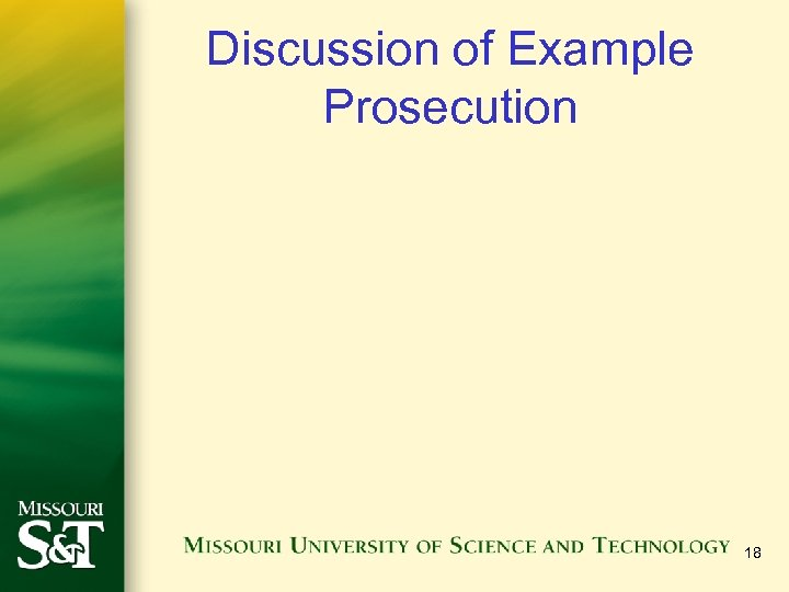 Discussion of Example Prosecution 18