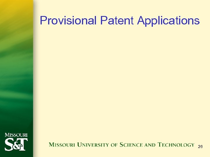 Provisional Patent Applications 26