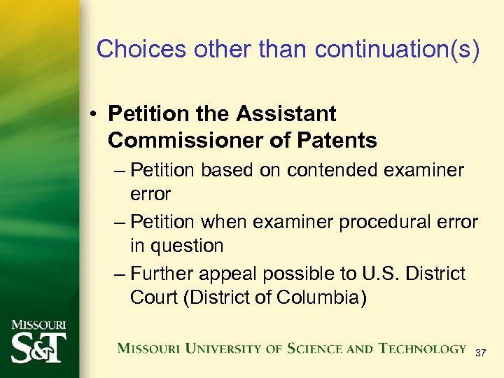 Choices other than continuation(s) • Petition the Assistant Commissioner of Patents – Petition based