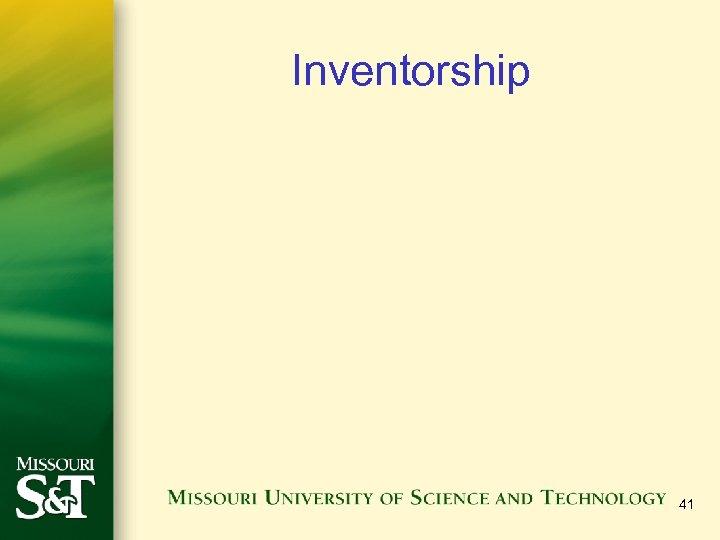 Inventorship 41