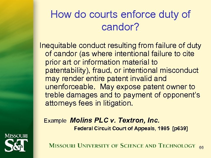 How do courts enforce duty of candor? Inequitable conduct resulting from failure of duty