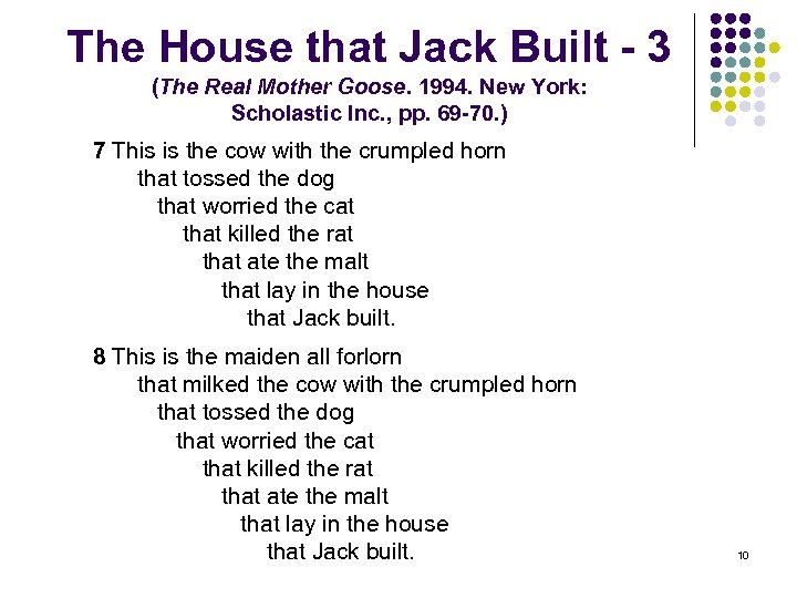 The House that Jack Built - 3 (The Real Mother Goose. 1994. New York: