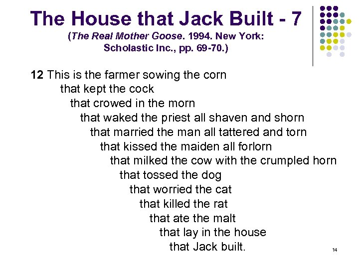 The House that Jack Built - 7 (The Real Mother Goose. 1994. New York: