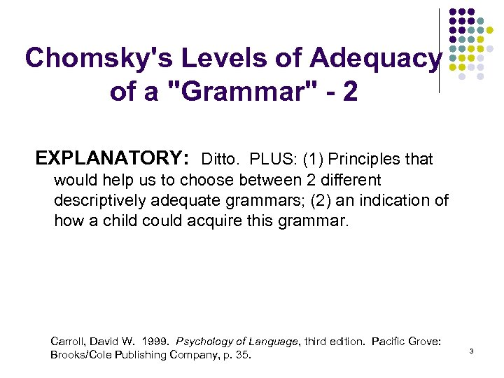 Chomsky's Levels of Adequacy of a