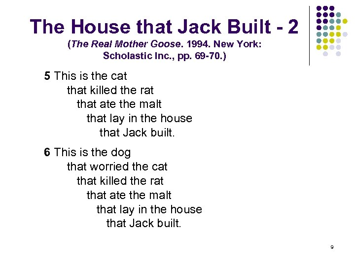 The House that Jack Built - 2 (The Real Mother Goose. 1994. New York: