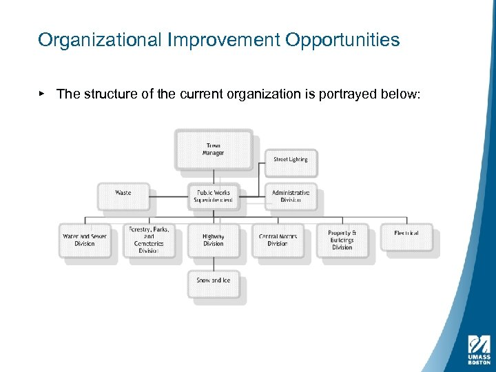 Organizational Improvement Opportunities ▸ The structure of the current organization is portrayed below: