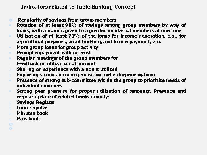 Indicators related to Table Banking Concept Regularity of savings from group members Rotation of