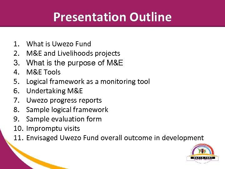 Presentation Outline 1. 2. 3. 4. 5. 6. 7. 8. 9. 10. 11. What
