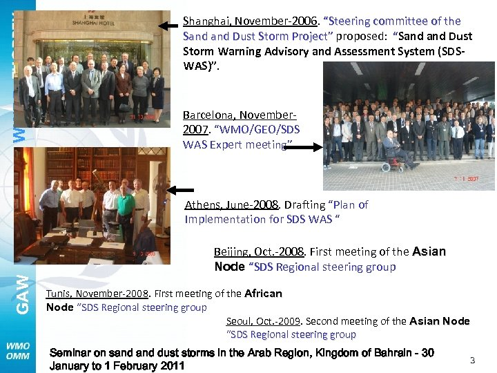 """WWRP- Shanghai, November-2006. """"Steering committee of the Sand Dust Storm Project"""" proposed: """"Sand Dust"""